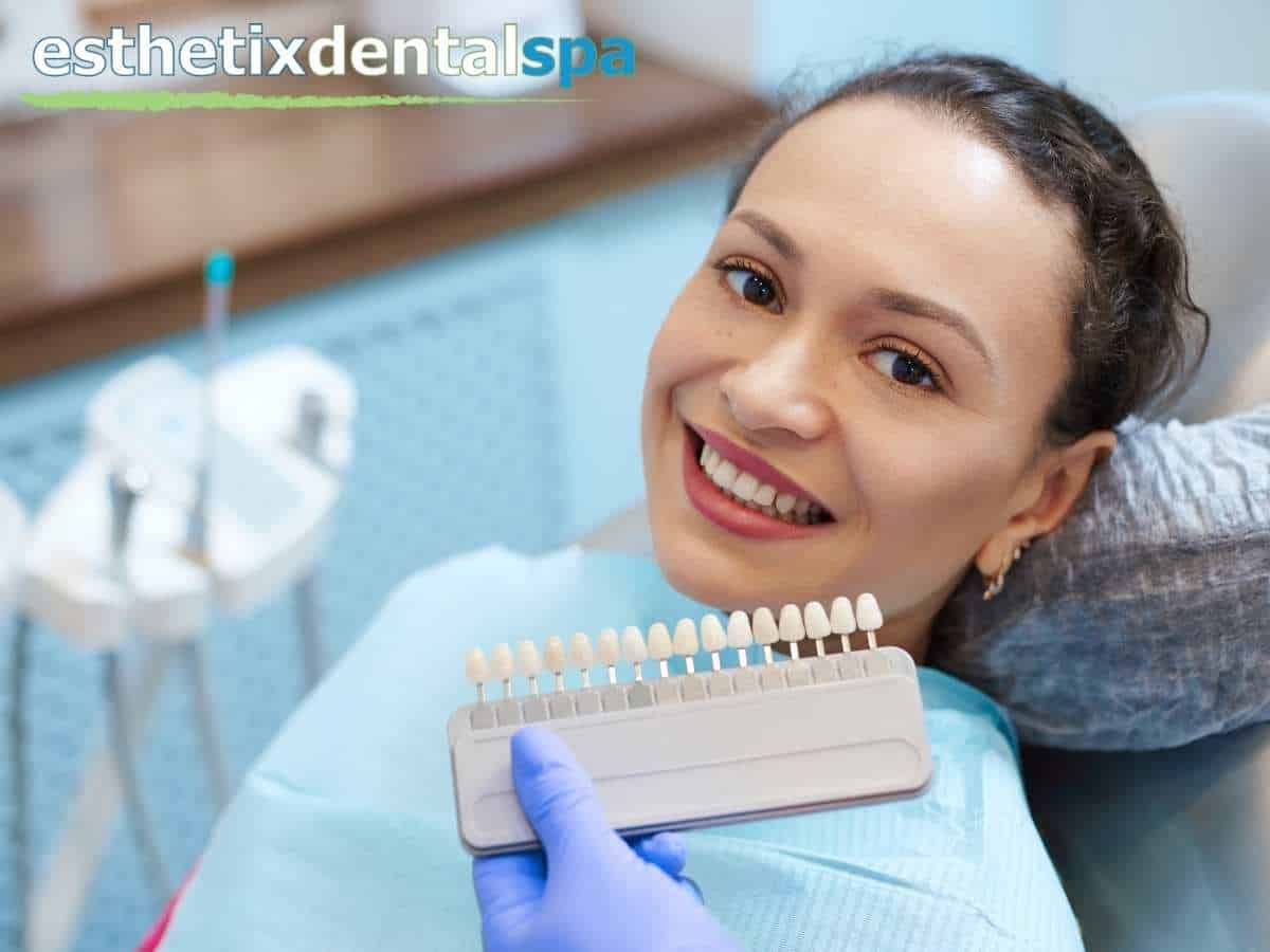 A woman having veneers to improve her smile in Washington Heights, NY.